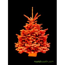Sapin floqué orange 140/160 cm